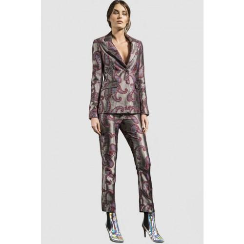 Vendita Abbigliamento Usato FIrmato - Completo giacca e pantalone con motivo paisley - Giuliette Brown - Drexcode -1
