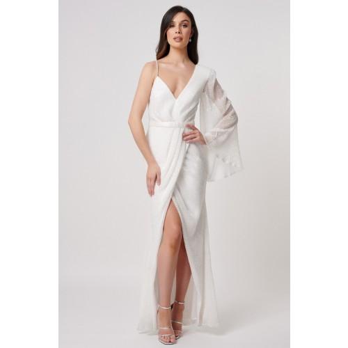 Vendita Abbigliamento Usato FIrmato - Abito bianco monospalla in paillettes - Forever unique - Drexcode -2