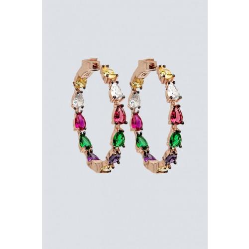 Vendita Abbigliamento Usato FIrmato - Orecchini a cerchio con pietra multicolore - Nickho Rey - Drexcode -1