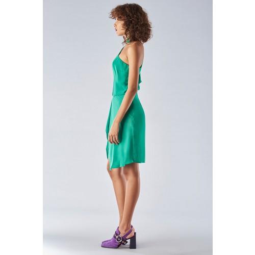 Vendita Abbigliamento Usato FIrmato - Abito verde con maniche asimmetriche - Halston - Drexcode -4