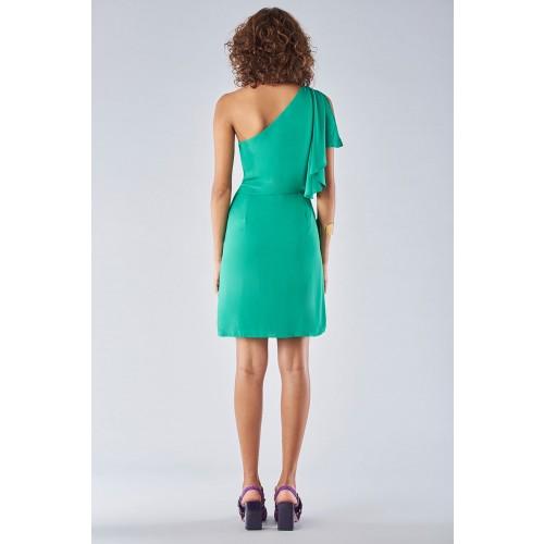 Vendita Abbigliamento Usato FIrmato - Abito verde con maniche asimmetriche - Halston - Drexcode -5