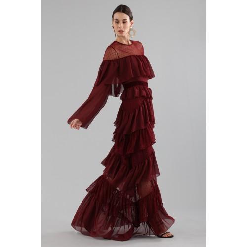 Vendita Abbigliamento Usato FIrmato - Abito lungo burgundy con volant - Perseverance - Drexcode -4