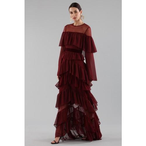 Vendita Abbigliamento Usato FIrmato - Abito lungo burgundy con volant - Perseverance - Drexcode -2