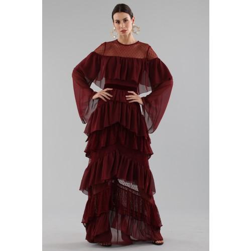 Vendita Abbigliamento Usato FIrmato - Abito lungo burgundy con volant - Perseverance - Drexcode -6