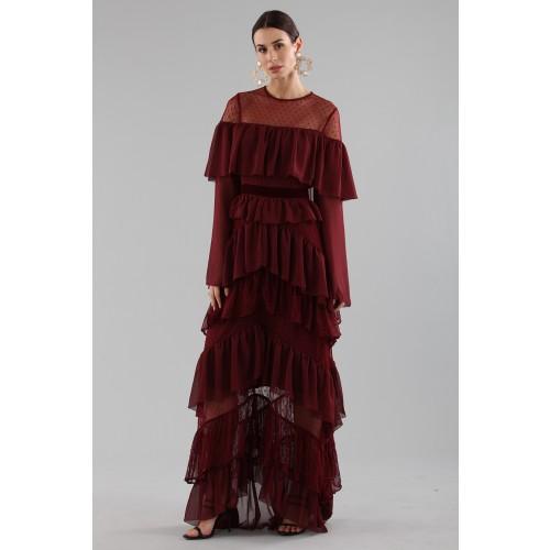 Vendita Abbigliamento Usato FIrmato - Abito lungo burgundy con volant - Perseverance - Drexcode -5