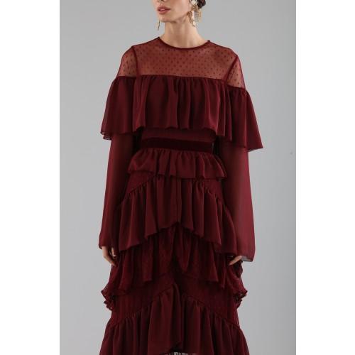 Vendita Abbigliamento Usato FIrmato - Abito lungo burgundy con volant - Perseverance - Drexcode -3