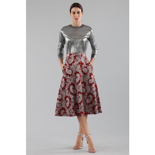 Vendita Abbigliamento Usato FIrmato - Gonna burgundy con fantasia broccata argento - Perseverance - Drexcode -2