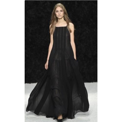 Vendita Abbigliamento Usato FIrmato - Abito nero scivolato - Vera Wang - Drexcode -1
