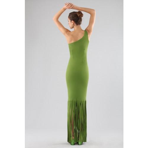 Vendita Abbigliamento Usato FIrmato - Abito verde monospalla con frange - Chiara Boni - Drexcode -2