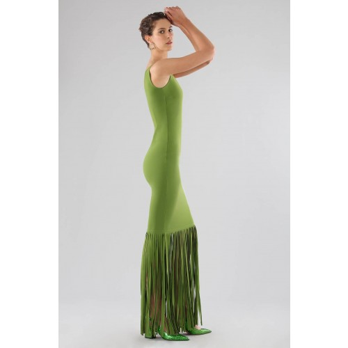 Vendita Abbigliamento Usato FIrmato - Abito verde monospalla con frange - Chiara Boni - Drexcode -4
