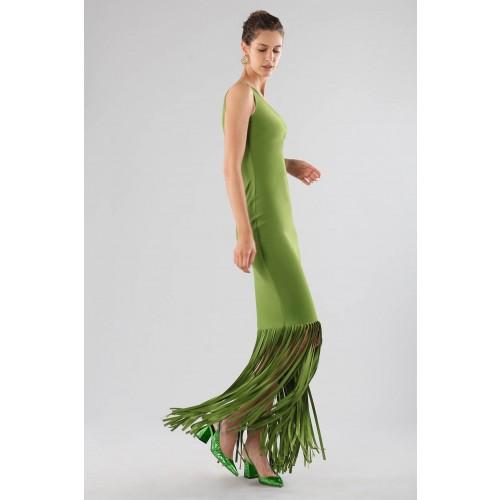 Vendita Abbigliamento Usato FIrmato - Abito verde monospalla con frange - Chiara Boni - Drexcode -3