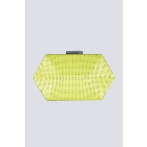 Vendita Abbigliamento Usato FIrmato - Clutch geometrica limone con strass - Anna Cecere - Drexcode -3