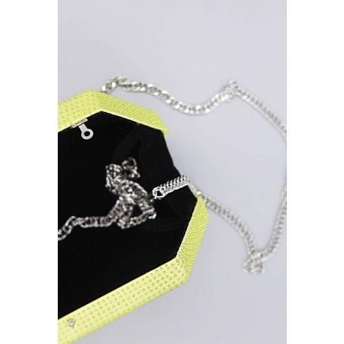 Vendita Abbigliamento Usato FIrmato - Clutch geometrica limone con strass - Anna Cecere - Drexcode -4