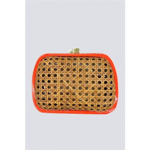 Vendita Abbigliamento Usato FIrmato - Clutch in vimini con bordo arancione - Serpui - Drexcode -1