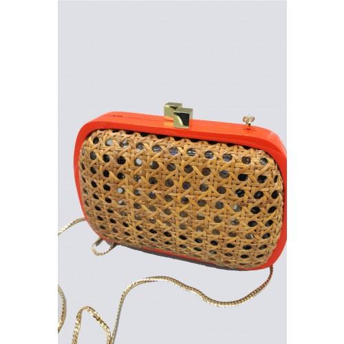 Vendita Abbigliamento Usato FIrmato - Clutch in vimini con bordo arancione - Serpui - Drexcode -2