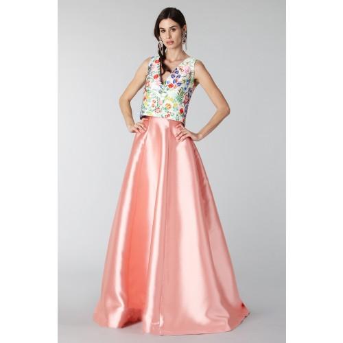 Vendita Abbigliamento Usato FIrmato - Completo gonna rosa e top floreale in seta - Tube Gallery - Drexcode -4
