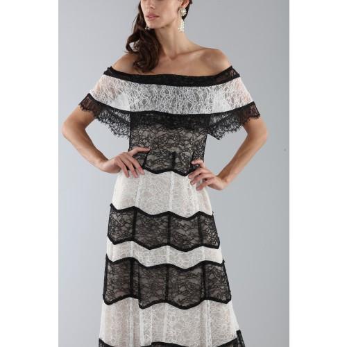 Vendita Abbigliamento Usato FIrmato - Abito a righe in pizzo off shoulder - Alice+Olivia - Drexcode -5