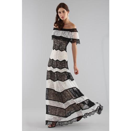 Vendita Abbigliamento Usato FIrmato - Abito a righe in pizzo off shoulder - Alice+Olivia - Drexcode -4