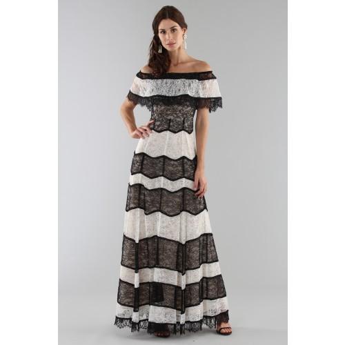 Vendita Abbigliamento Usato FIrmato - Abito a righe in pizzo off shoulder - Alice+Olivia - Drexcode -3