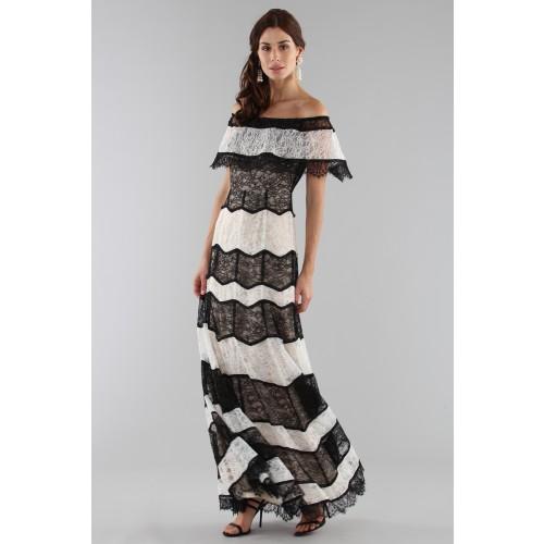 Vendita Abbigliamento Usato FIrmato - Abito a righe in pizzo off shoulder - Alice+Olivia - Drexcode -2