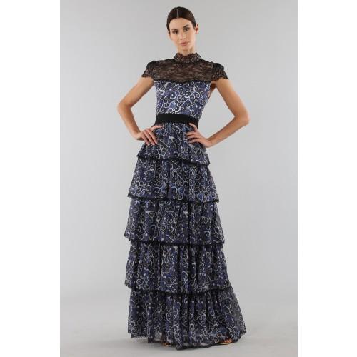 Vendita Abbigliamento Usato FIrmato - Abito blu con balze sovrapposte - Alice+Olivia - Drexcode -3