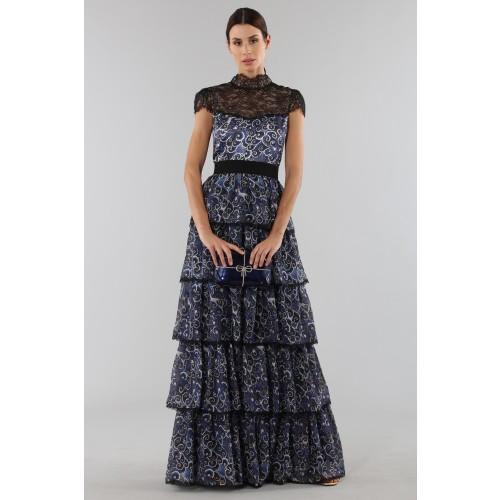 Vendita Abbigliamento Usato FIrmato - Abito blu con balze sovrapposte - Alice+Olivia - Drexcode -5
