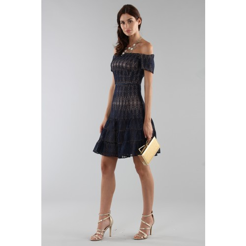 Vendita Abbigliamento Usato FIrmato - Abito corto in pizzo blu off-shoulder - ML - Monique Lhuillier - Drexcode -6