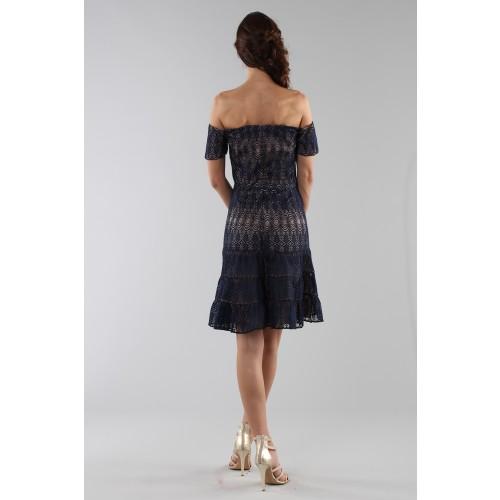 Vendita Abbigliamento Usato FIrmato - Abito corto in pizzo blu off-shoulder - ML - Monique Lhuillier - Drexcode -1