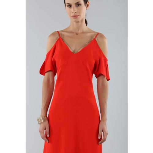 Vendita Abbigliamento Usato FIrmato - Abito rosso off shoulder con catenelle argentate - Alexander Wang - Drexcode -5