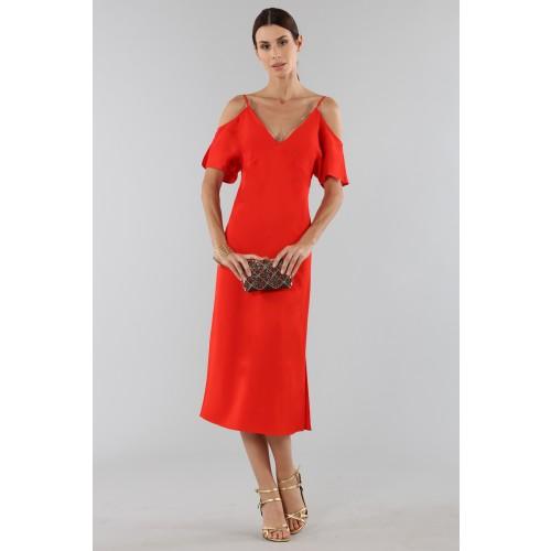 Vendita Abbigliamento Usato FIrmato - Abito rosso off shoulder con catenelle argentate - Alexander Wang - Drexcode -4