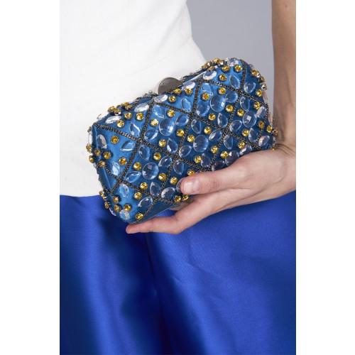 Vendita Abbigliamento Usato FIrmato - Clutch azzurra in seta con cristalli e catene - Rodo - Drexcode -2