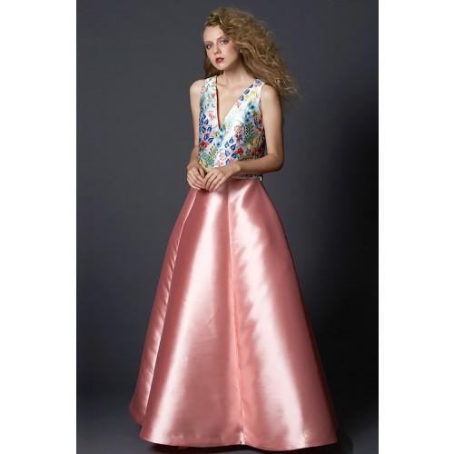 Vendita Abbigliamento Usato FIrmato - Completo gonna rosa e top floreale in seta - Tube Gallery - Drexcode -1