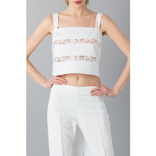 Vendita Abbigliamento Usato FIrmato - Top in pizzo e cotone - Rochas - Drexcode -3