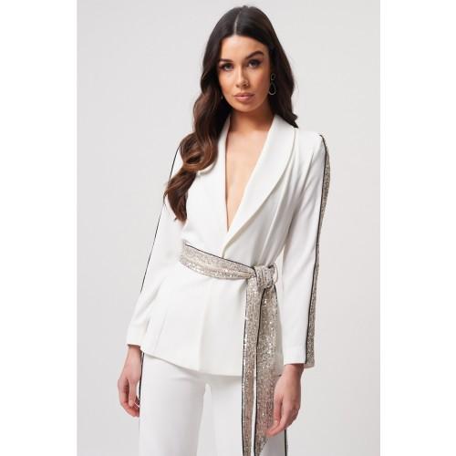 Vendita Abbigliamento Usato FIrmato - Tailleur bianco con inserti in paillettes - Forever unique - Drexcode -2