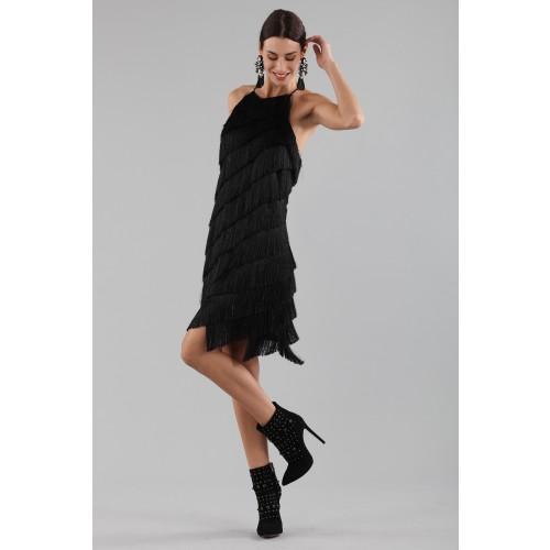 Vendita Abbigliamento Usato FIrmato - Abito corto con frange - Halston - Drexcode -3