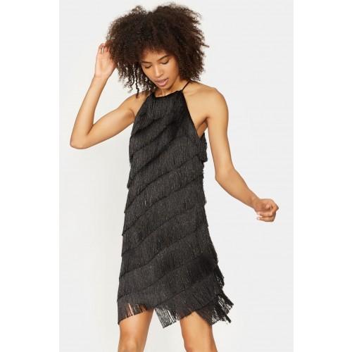 Vendita Abbigliamento Usato FIrmato - Abito corto con frange - Halston - Drexcode -2