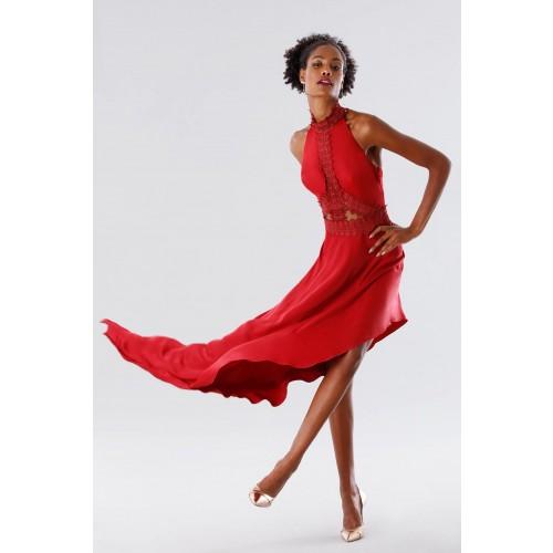 Vendita Abbigliamento Usato FIrmato - Abito asimmetrico rosso con trasparenze - Kathy Heyndels - Drexcode -6