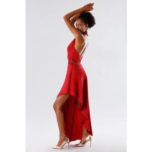 Vendita Abbigliamento Usato FIrmato - Abito asimmetrico rosso con trasparenze - Kathy Heyndels - Drexcode -2