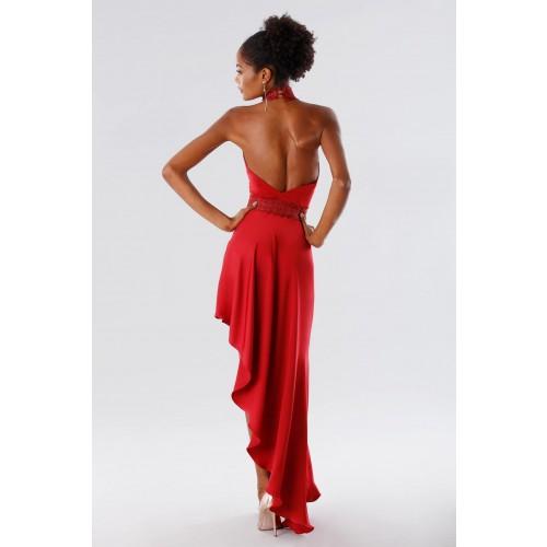 Vendita Abbigliamento Usato FIrmato - Abito asimmetrico rosso con trasparenze - Kathy Heyndels - Drexcode -4