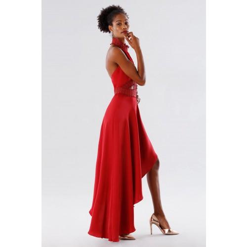 Vendita Abbigliamento Usato FIrmato - Abito asimmetrico rosso con trasparenze - Kathy Heyndels - Drexcode -3