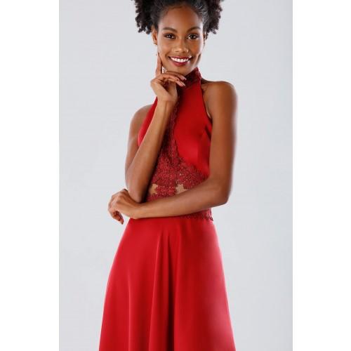 Vendita Abbigliamento Usato FIrmato - Abito asimmetrico rosso con trasparenze - Kathy Heyndels - Drexcode -5