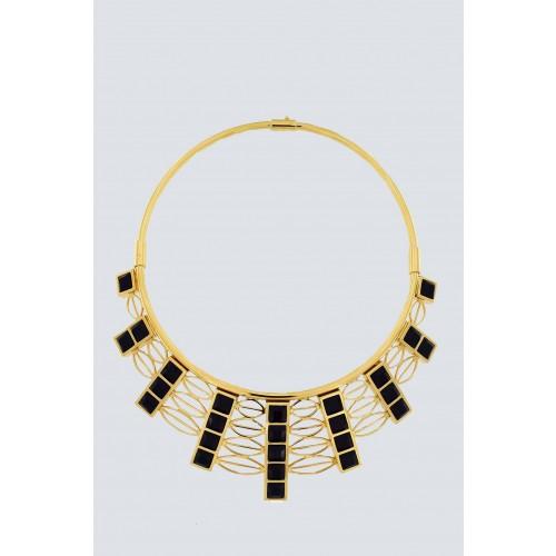 Vendita Abbigliamento Usato FIrmato - Collana in oro giallo e cristalli Swarovski neri - Natama - Drexcode -2