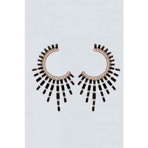 Vendita Abbigliamento Usato FIrmato - Orecchini pendenti a luna con pietra nera - Nickho Rey - Drexcode -2