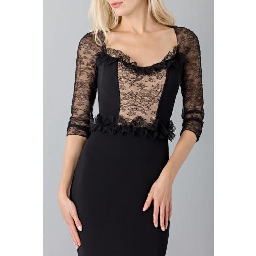 Vendita Abbigliamento Usato FIrmato - Abito nero a sirena con con maniche in pizzo - Blumarine - Drexcode -5