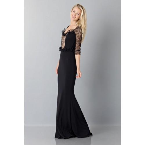 Vendita Abbigliamento Usato FIrmato - Abito nero a sirena con con maniche in pizzo - Blumarine - Drexcode -4