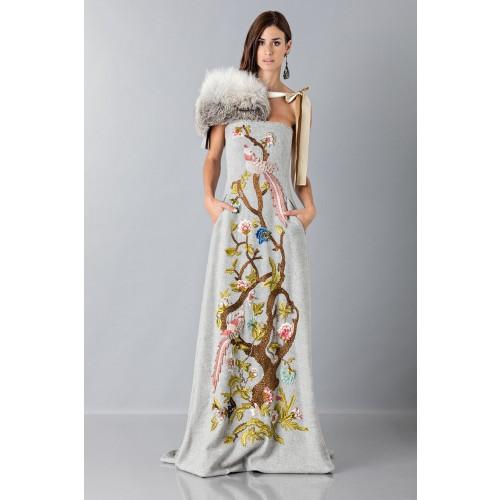 Vendita Abbigliamento Usato FIrmato - Bustier grigio in lana con applique a tema floreale - Alberta Ferretti - Drexcode -7