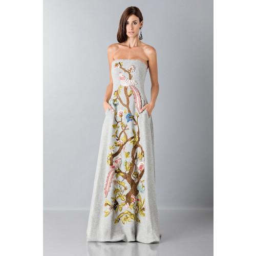 Vendita Abbigliamento Usato FIrmato - Bustier grigio in lana con applique a tema floreale - Alberta Ferretti - Drexcode -3