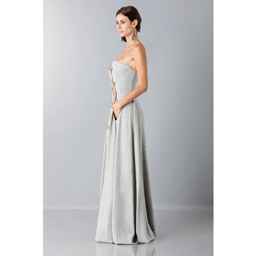 Vendita Abbigliamento Usato FIrmato - Bustier grigio in lana con applique a tema floreale - Alberta Ferretti - Drexcode -6