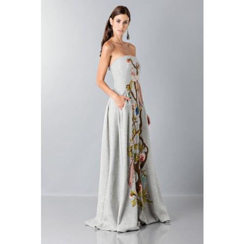 Vendita Abbigliamento Usato FIrmato - Bustier grigio in lana con applique a tema floreale - Alberta Ferretti - Drexcode -5
