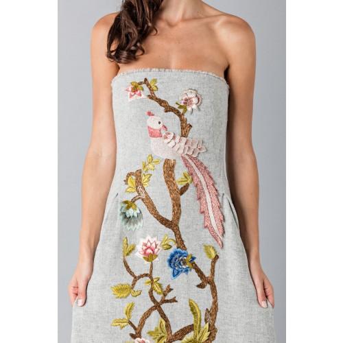 Vendita Abbigliamento Usato FIrmato - Bustier grigio in lana con applique a tema floreale - Alberta Ferretti - Drexcode -4